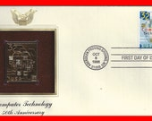 22kt GOLD Replica COMPUTER Technology 50th Anniversary Stamp First Day Issue