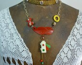 STOP LIGHT early plastic and bakelite vintage antique assemblage necklace