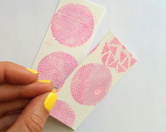 hot pink note cards / gift tags - pair