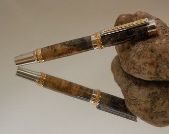 Handmade Harvest Carved Rollerball Pen with 22kt Gold and Rhodium