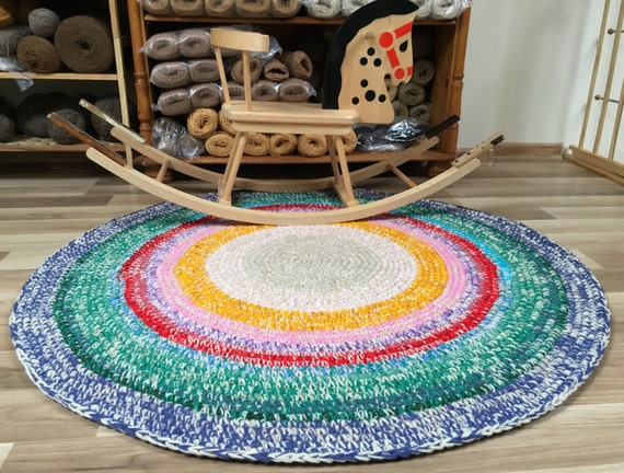 Cute hand crochet rug in happy colors, perfect for a nursery, 40'' in diameter