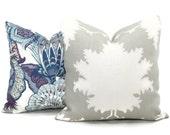 Garden of Persia Decorative Pillow Cover 18x18 Lumbar Pillow, Schumacher Made to order pillow cover, Dove gray pillow cover