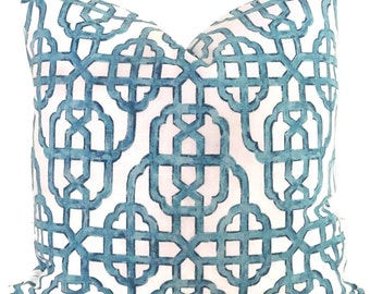 Imperial Seaside Blue Trellis Decorative Pillow Cover, Throw Pillow, Accent Pillow, Pillow Sham Lacefield Textiles