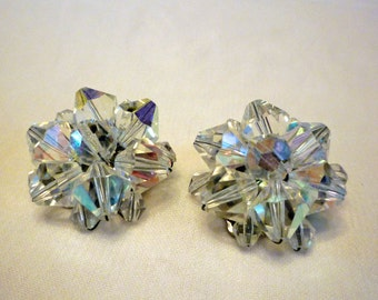 Aurora Borealis Cluster Earrings, 1950s AB Clip On Earrings, Vintage Crystal Jewelry