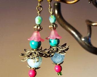 Spring colours - Pink and aqua blue fairy dangle earrings