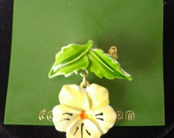 CONTEMPRA Status Enamel Pin Brooch - Yellow Flower Dangle from Green Leaves