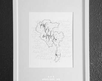 Los Angeles Neighborhoods Map PRINT with handwritten Calligraphy 11x14