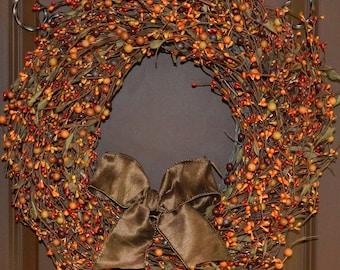 Pumpkin Berry Wreath - Door Wreath - Fall Wreath - Select Ribbon Color