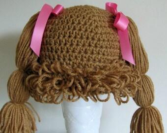 Cabbage patch wig-hat 9-12 months  warm brown