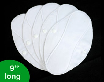 Pantyliners 9'' - Pure white - Washable - Reusable coth pads - Eco-friendly