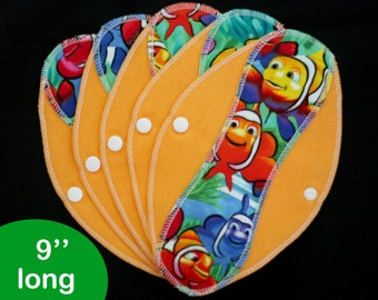 Pantyliners 9'' - Rainbow fish - Washable - Reusable coth pads - Eco-friendly
