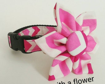 Dog Collar or Martingale - Double Pink Chevron - Choose From Many Sizes