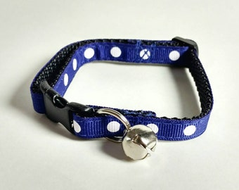 Cat Collar - Blue with White Polka Dots