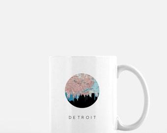 Detroit skyline coffee mug | 11 oz ceramic mug | Detroit, Michigan mug | Detroit map coffee mug | Detroit mug | Michigan mug | city mug