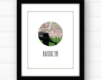 Brooklyn Bridge art print | Brooklyn art print | Brooklyn Bridge print | Brooklyn New York art print | Brooklyn print | Brooklyn NY map art