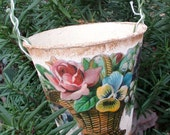 Shabby chic French paper pail bucket container decor planter gift candy flowers with handle small made in France floral decal picture basket