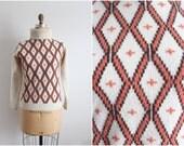 70s Diamond Sweater / 1970s Vintage Jumper / Mod Sweater / Size S/M