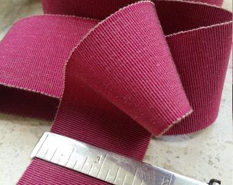 "1.5"" Sawtooth Edge Vintage French Muted Fuschia Magenta berry Petersham millinery hatband belting Ribbon Trim: dusty mauve taupe undertones"
