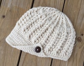 Ladies'/Misses Newsboy PEAKED Brimmed Button CREAM Hat ~ One Size Fits Most ~ You Pick Color ~ Stylish Warm Winter Accessory