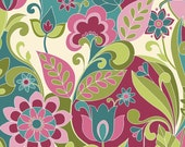 LAMINATED cotton fabric by the yard - Botanique Teal EXCLUSIVE (aka oilcloth, coated vinyl)