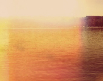 Large Wall Art, Modern Abstract Waterscape, Coral, Purple, Sunset, Minimal Photography, Abstract Landscape, Yellow, Color Field, Water