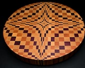 "Gorgeous ""Purple Diamonds 3D"" Professional End Grain Round Butcher Block Round Cutting Board Christmas Gift **FREE SHIPPIING to lower 48!**"