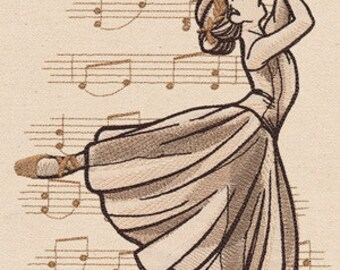 Beautiful Music Ballerina - Embroidered Flour Sack Hand/Dish Towel
