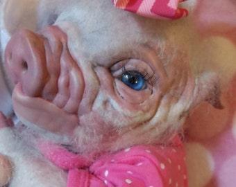 Reborn ready to ship white and pink pig Piggy baby Artist doll  Piglet OOAK newborn ooak
