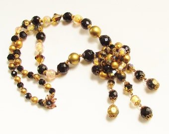 Vintage Miriam Haskell Inspired Glass Black Gold Beaded Dangle Necklace