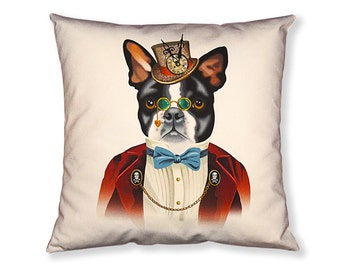 Boston Terrier Steampunk Pillow Cover - Black Brown White Dark Red - Steampunk Dog - Square Pillow