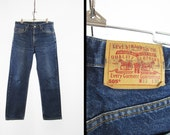 Vintage 80s Levi's 505 Jeans Red Tab Worn Distressed Denim Made in USA - 33 x 30