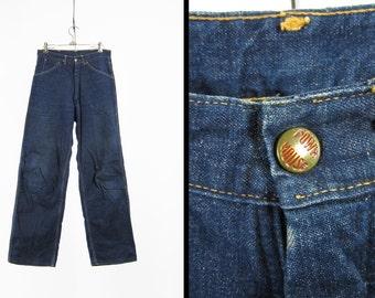 Vintage 50s Powr House Jeans Flannel Lined Denim Painter's Pants Union Made - 30 x 31