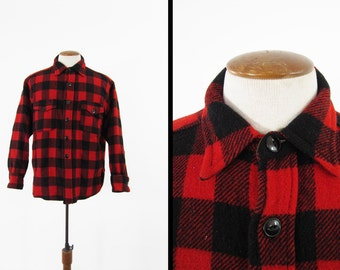 Vintage 50s Spaide Wool Shirt Buffalo Plaid Red Winter Gusseted Shirt - Large
