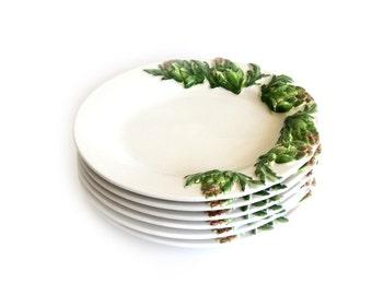 Artichoke Oval Majolica Plates Set of 6 Vintage