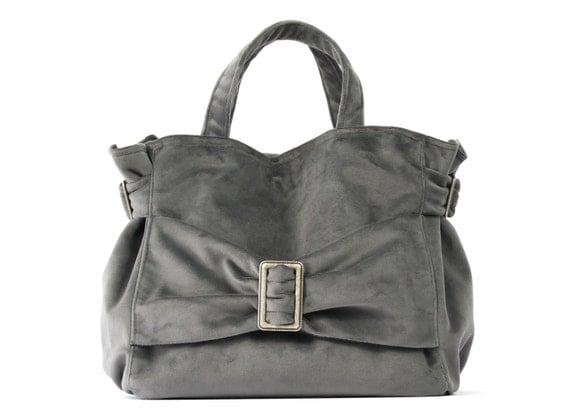 TINA, Mouse GRAY VELVET handbag,Chic and stylish evening Handbag,Handmade in France
