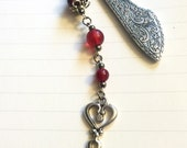 Silver Bookmark, Steampunk Bookmark, Victorian Bookmark, Skeleton Key Bookmark, Embellished Bookmark