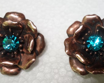 Vintage YSL Saint Yves Laurent Rive Gauche Copper and Turquoise Flower Earrings