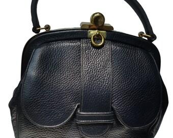 ROGER VAN S 60s Midnight Blue Pebbled Leather Purse w/Kangaroo Pocket