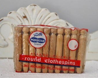 Vintage New/Old Store Stock Clothes Pins - Wood Clothes Pegs - Cabin Cottage Home Decor -