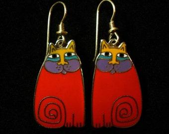 "LAUREL BURCH ""Olivia"" Red Cat Earrings"