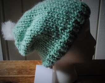 Adult - Turquoise pompom hat (ready to ship)