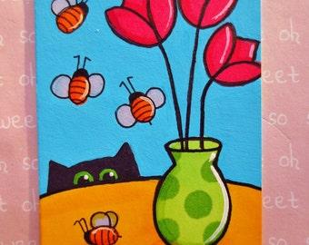 Aceo original Cat Painting 2.5 X 3.5 inches BUMBLEBEE INVASION  Black Cat Art