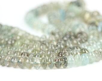 Moss Aquamarine Smooth Rondelles Set of 5 Large Shaded Moss Green Grey Blue Semi Precious Gemstone winter color
