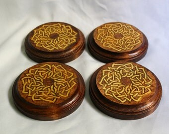 Set of 4 Wooden Coasters with Celtic design