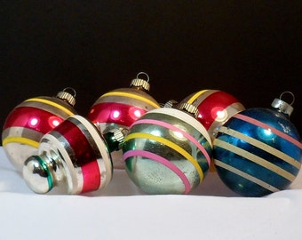 Christmas 6 Glass Ornaments Striped Shiny Brite Lantern UFO Round Ball Vintage 1950s