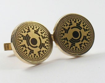 Sale Round Cufflinks Black Gold Tone Geometric Men's Jewelry Vintage 1950s