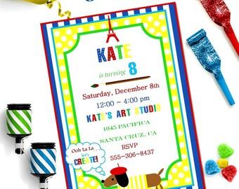 PARIS ART Party INVITATION ~ Personalized Printable Download