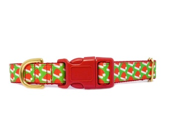 """Christmas Dog Collar, 1"""" wide dog collar, Santa Clause's Hat in Red and Green"""