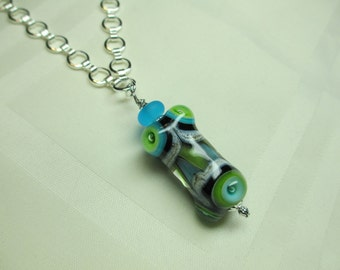 Lampwork Bead Pendant Necklace in Aqua and Lime Green