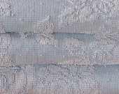 """Vintage Chenille Bedspread, Classic Blue and White Rose Pattern, Heavy Cotton, 97"""" w. x 121"""" l."""